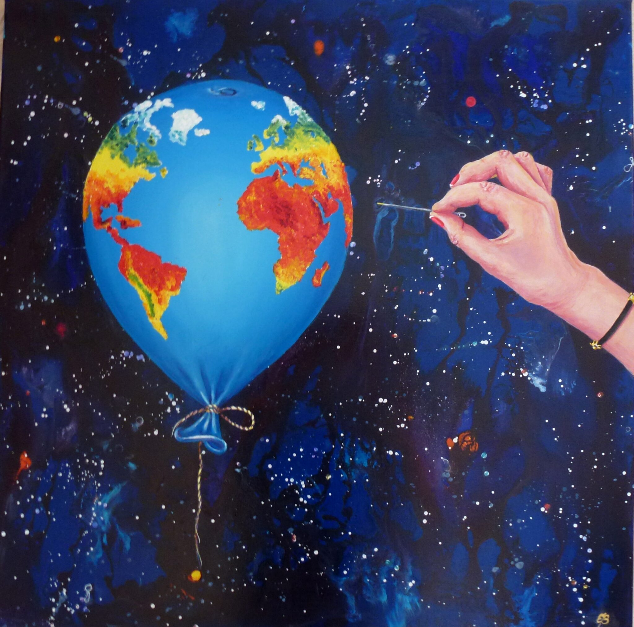Balloon depicted as our planet Earth
