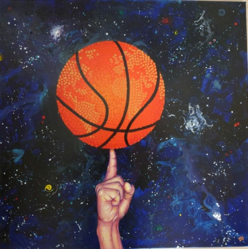 Basketball depicted as our planet Earth