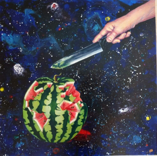 Watermelon depicted as our planet Earth