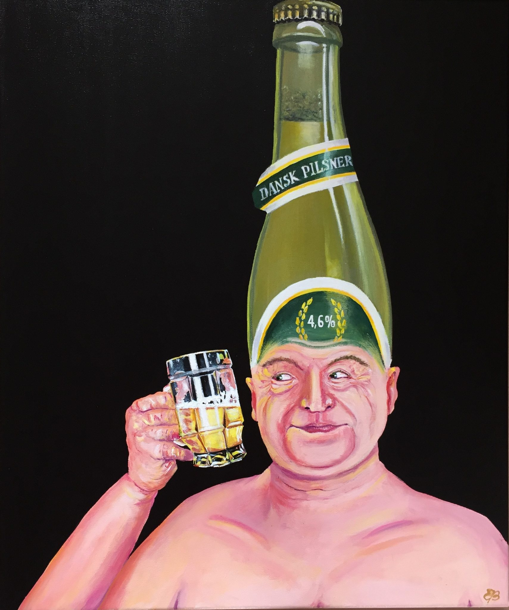 Beer King acrylic painting